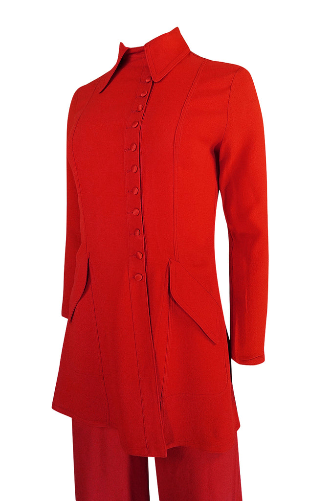 c.1971 Ossie Clark Couture Red Moss Crepe Jacket & Pant Suit