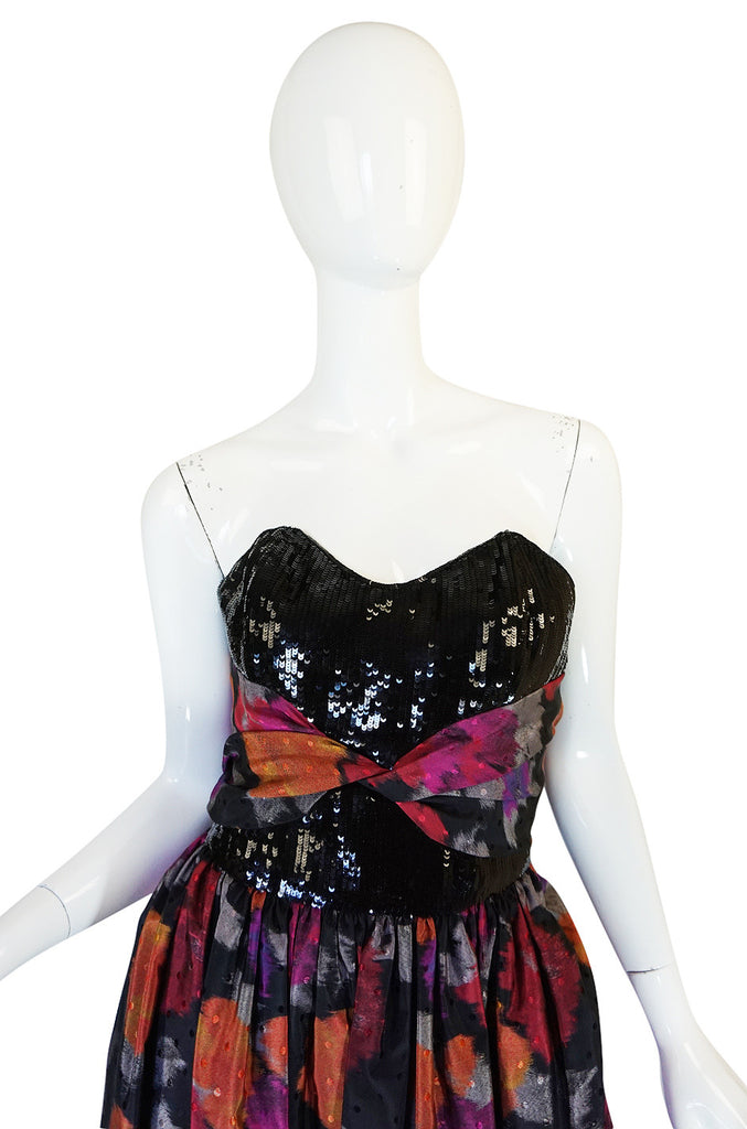 1980s Geoffrey Beene Sequined Silk Dress with Shawl