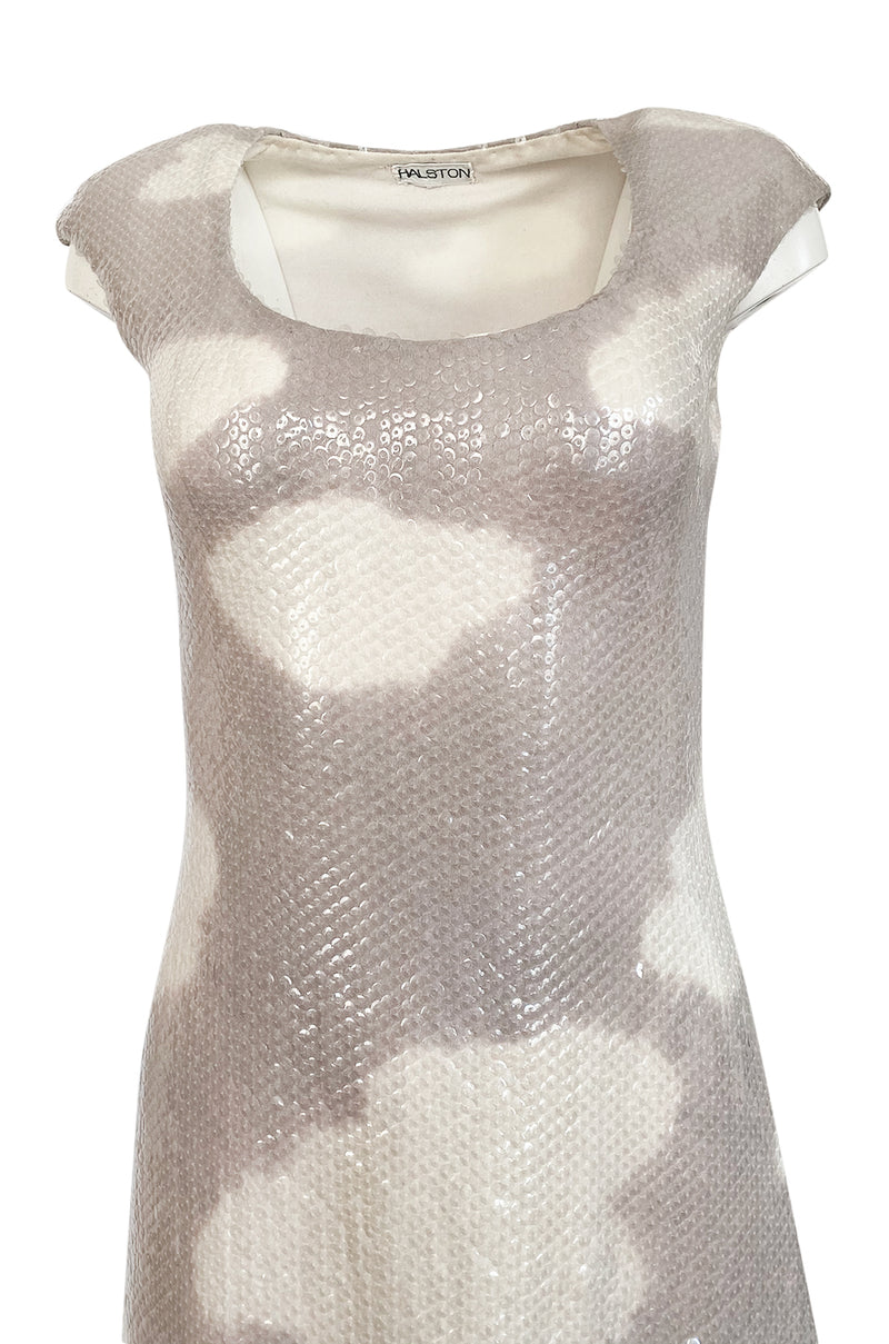 Iconic 1973 Halston Cloud Dress in Silver Grey & Ivory Covered with Iridescent Sequins
