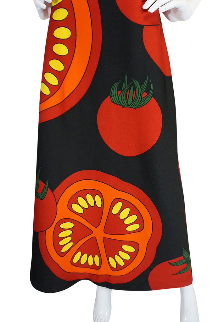 "c1973 Lanvin Printed ""Tomato"" Halter Jersey Dress"
