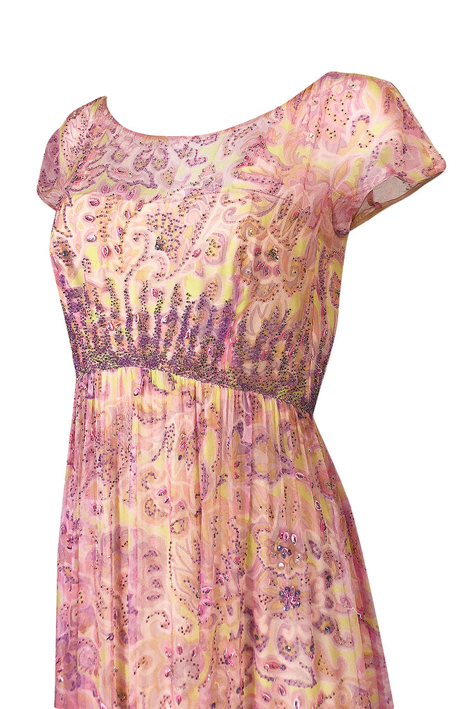 1960s Malcolm Starr Pink & Pale Yellow Silk Chiffon Beaded Dress