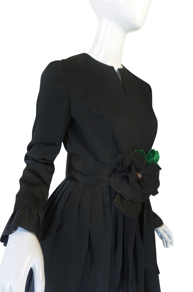 Stunning 1960s Black Silk Satin Sarmi Cocktail Dress