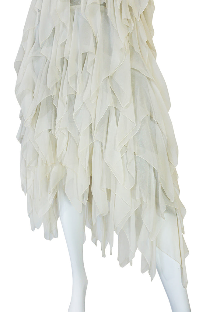 1970s Ivory Silk Chiffon & Silver Stavropoulos Petal Dress