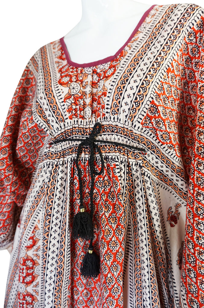 1960s Amazing & Beautiful Printed Indian Cotton Caftan