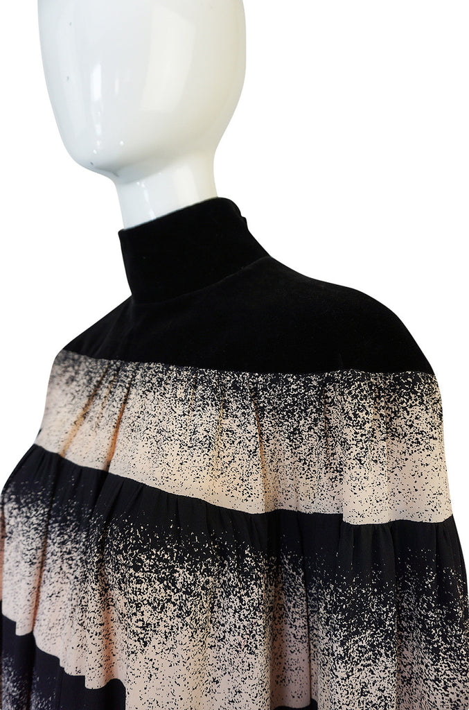 1970s Rare Chloe Printed Silk Velvet Collar Smock Dress