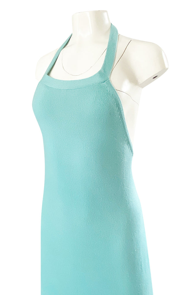 Important 1974 Halston Turquoise Cashmere Extremely Low Back Halter Dress