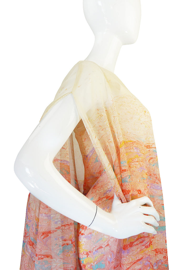 1970s One Shoulder Pastel Jerry Silverman Dress