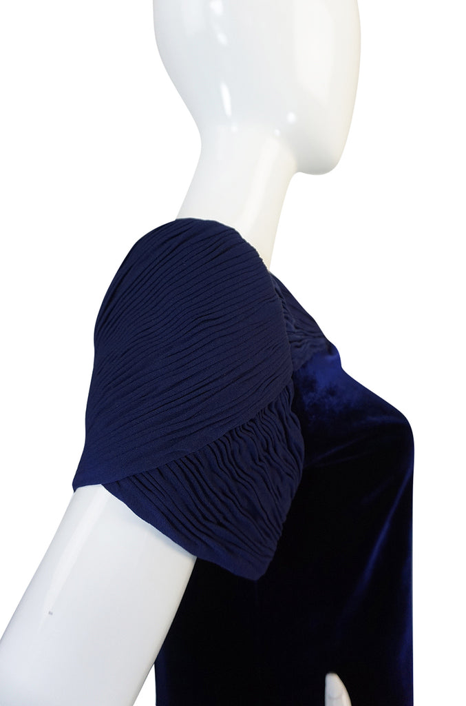1980s Valentino Haute Couture Blue Silk Velvet Shift Dress