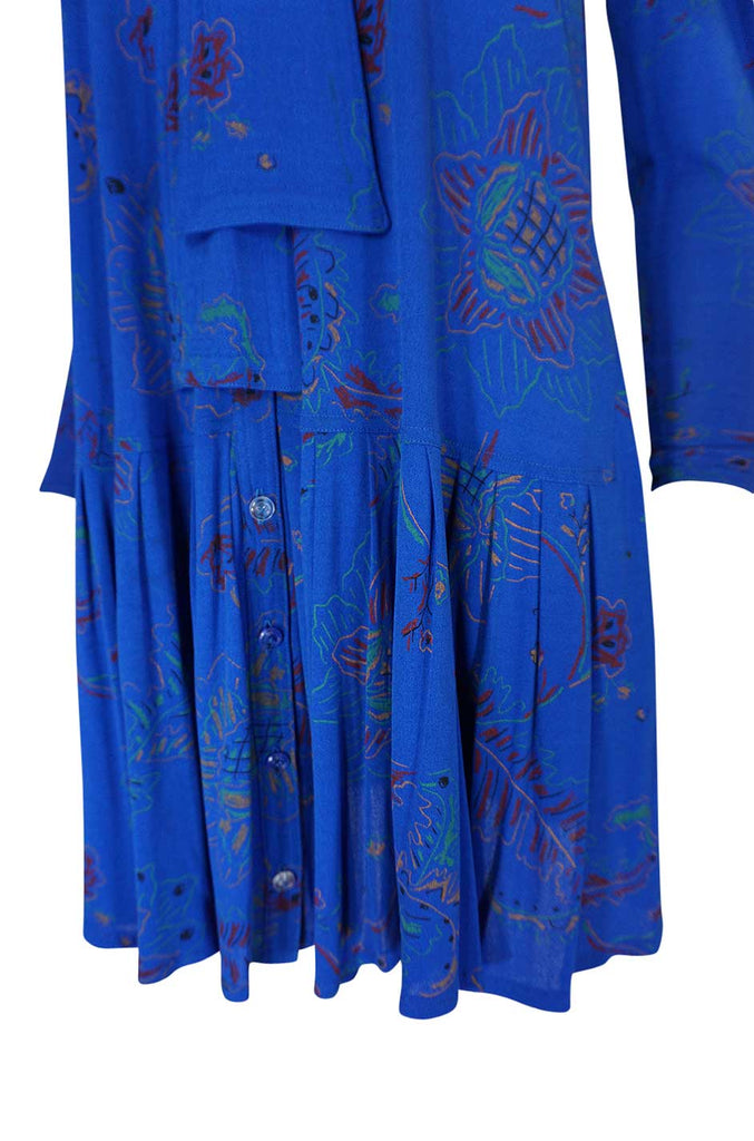 1970s Jean Muir Hand Painted Blue Jersey Smock Dress