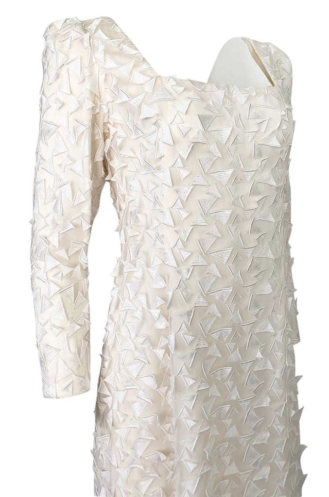 1970s Stavropoulos White Applique & Ivory Net Full Length Sheath Dress