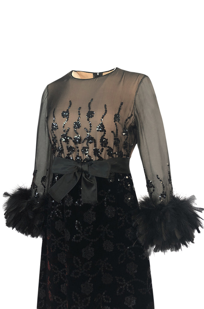 Documented Fall 1970 Oscar de la Renta Ostrich Feather & Sequin Silk Dress