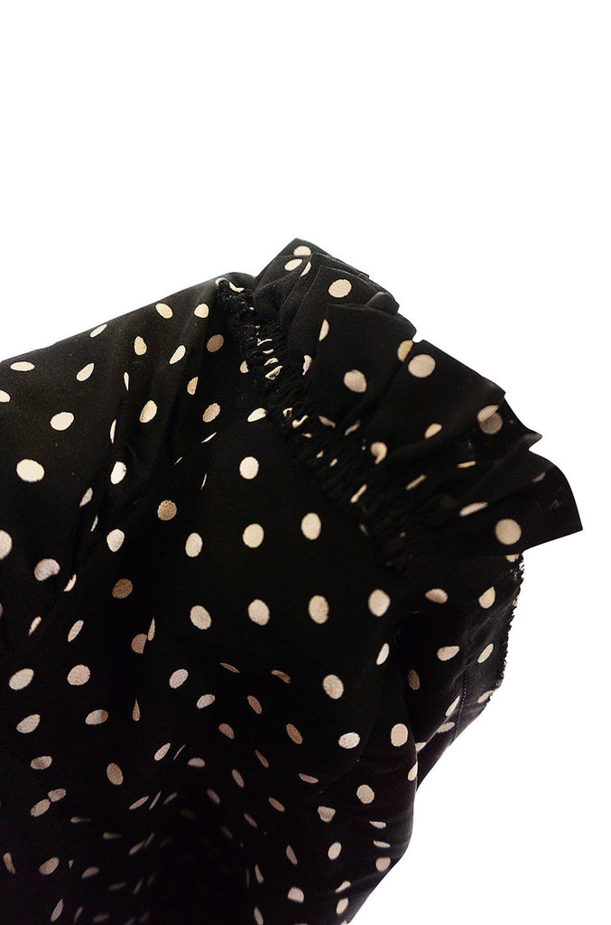 1970s Haute Couture Silk Dot Yves Saint Laurent Top