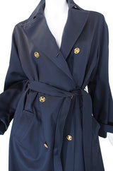 1980s Blue with Gold Celine Trench Coat