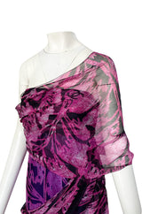 Fall 2000 Chanel by Karl Lagerfeld Runway One Shoulder Silk Chiffon Dress