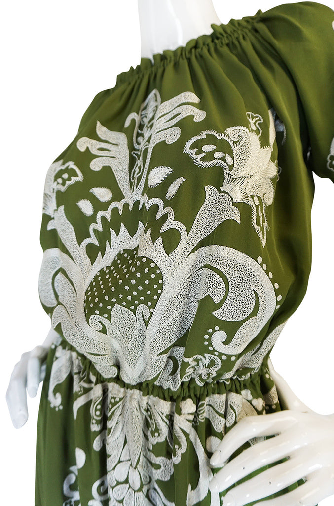 Resort 2012 Naeem Khan Olive Green Embroidered Peasant Dress