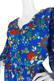 1980s Yves Saint Laurent Bright Floral Print Blue Silk Dress