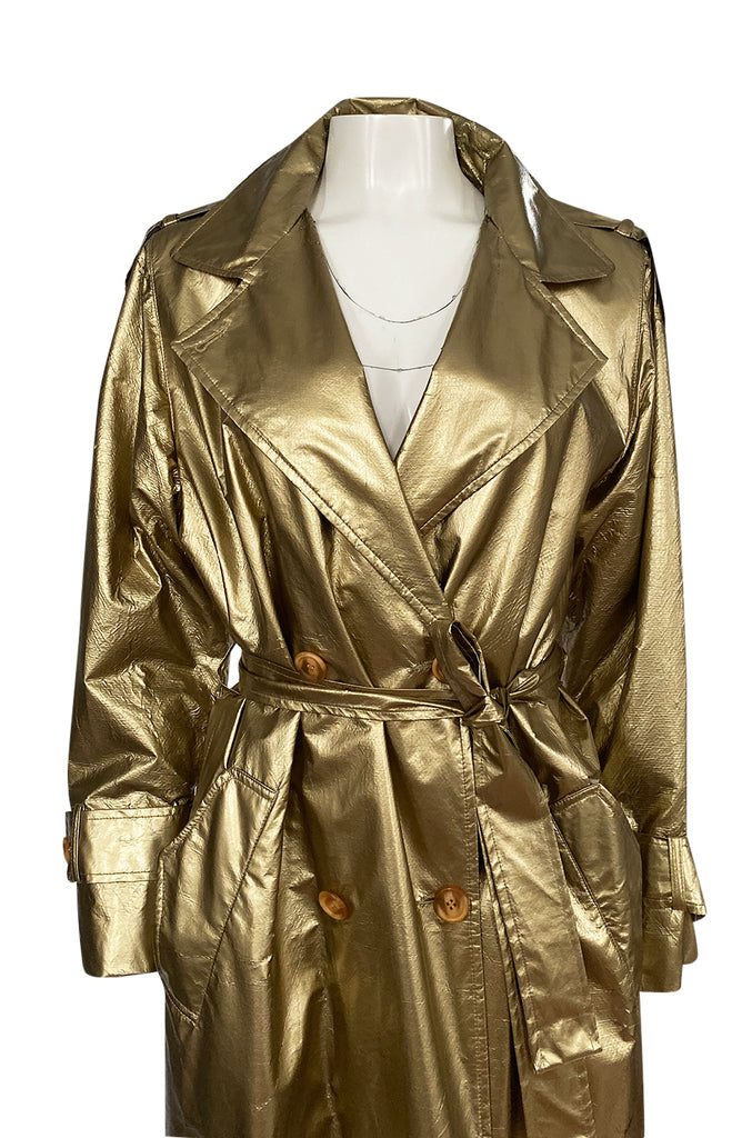 1980s Christian Dior Gold Coated Metallic Oversized Trench Coat