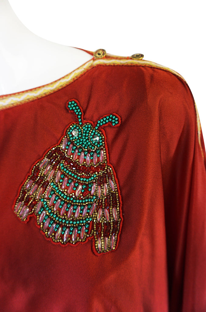 Winter 1972 Bill Gibb Beaded Bee Caftan Dress Set