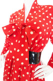 c.1963 Belted Norman Norell Chic Red Silk Dot Dress