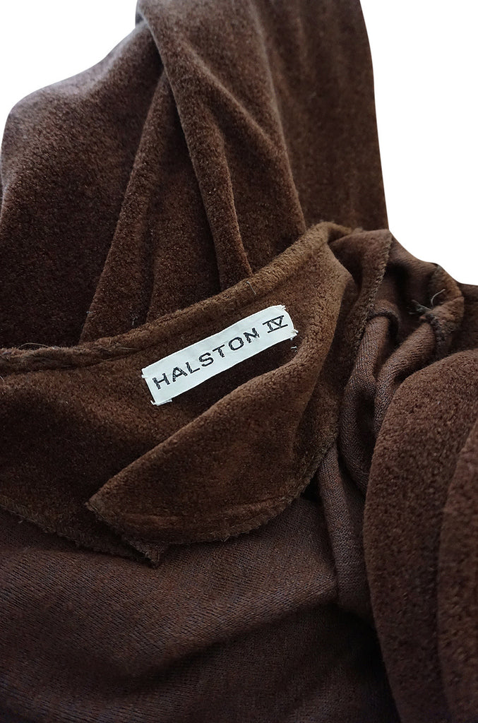 1970s Halston Chocolate Brown Toweling Jumpsuit