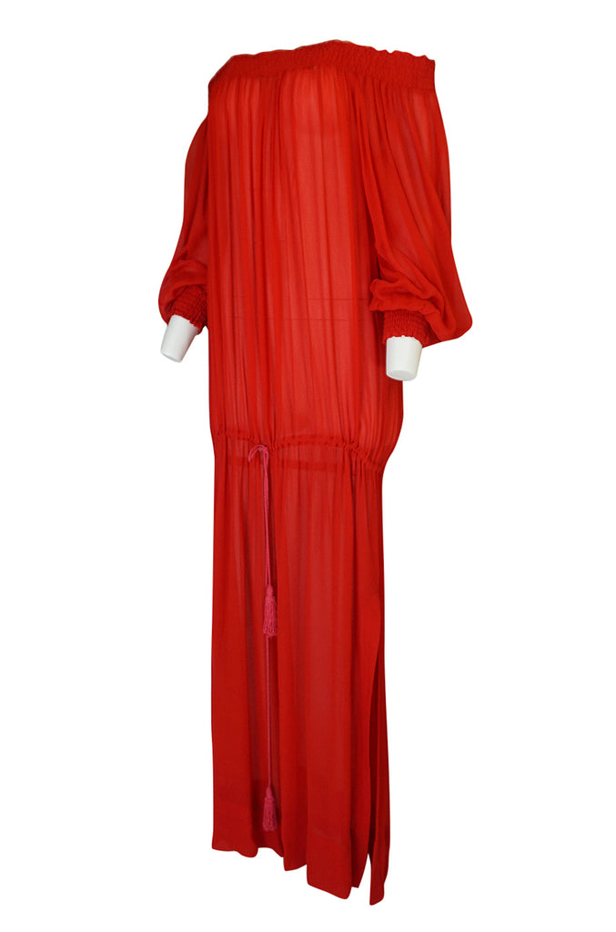 1970s Yves Saint Laurent Red Gauze Multi Length Caftan Dress