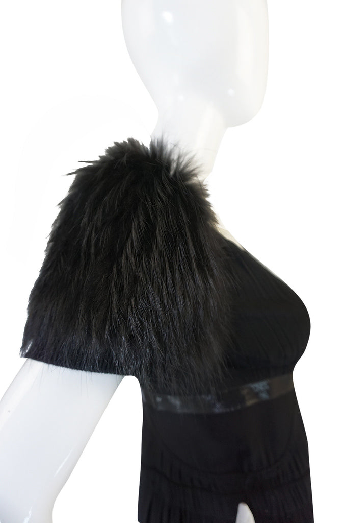 Recent Prada Black Dress with Fox Fur Trimmed Shoulders