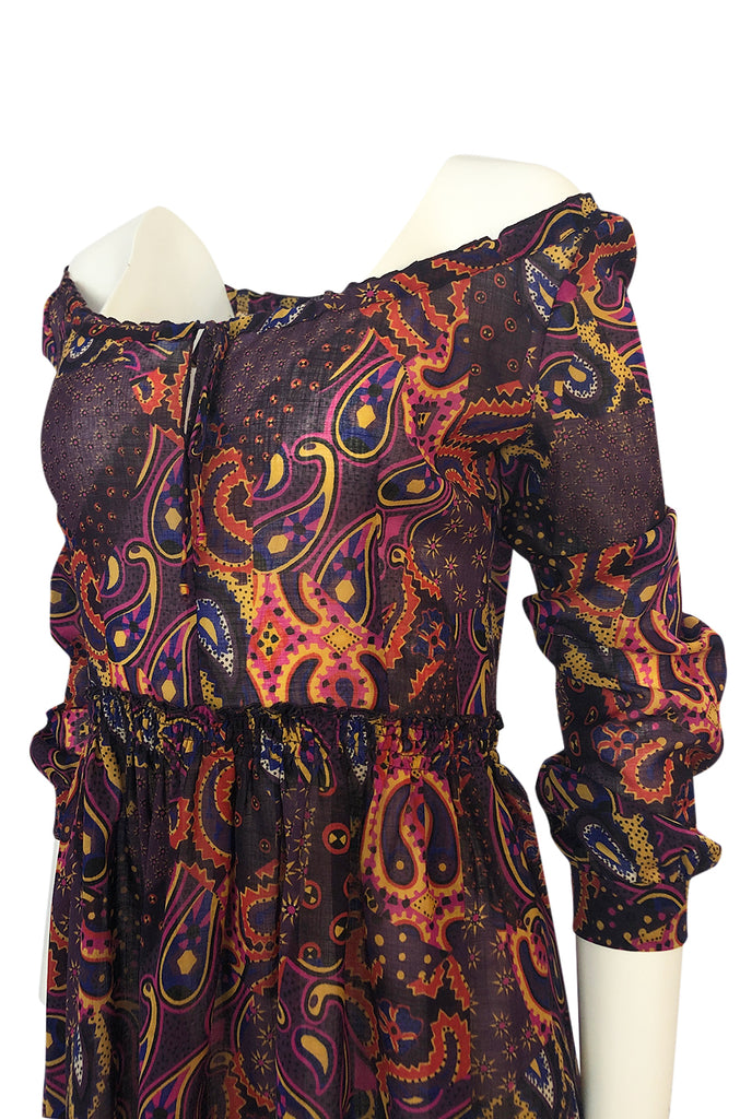Fall 2005 Miu Miu Purple Printed Off Shoulder Semi-Sheer Dress