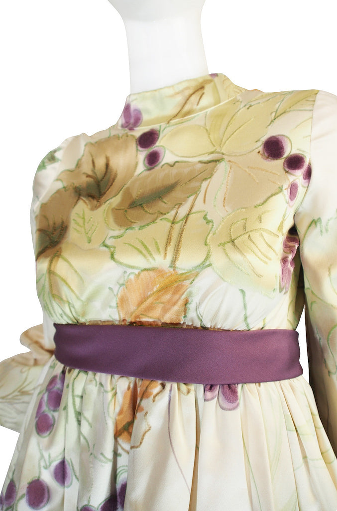 1960s Rare Hand Painted George Halley Silk Gown