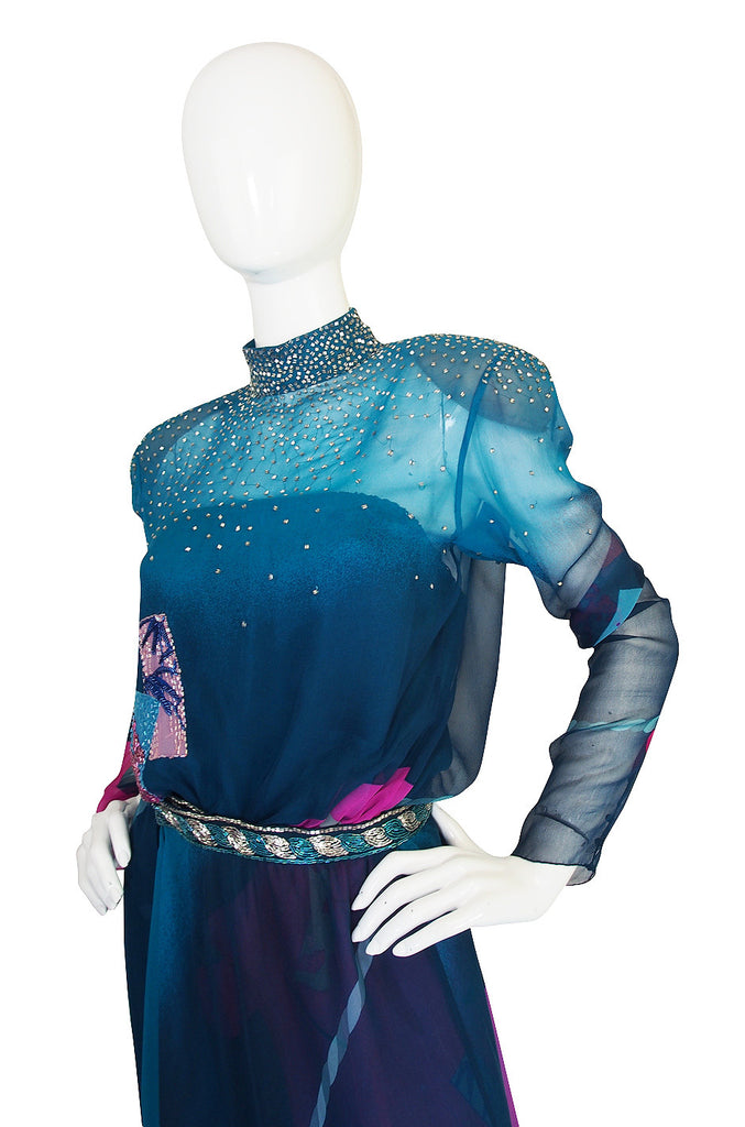1970s Hanae Mori Couture Beaded Silk Chiffon Dress