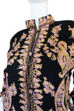 1960s Pastel Crewel Embroidered Detailing Black Jacket