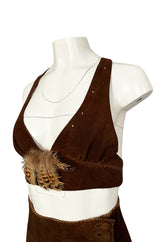 1960s North Beach Leather Suede & Feather Halter Top & Wrap Skirt Set