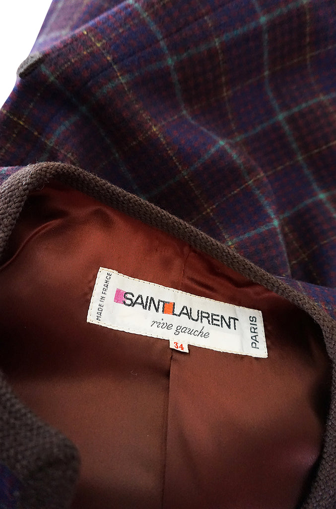c1966-1970 Yves Saint Laurent Classic Box Cut Plaid Jacket