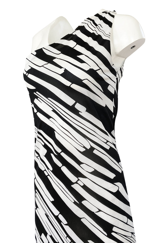 1970s Donald Brooks for Sinclair One Shoulder Black & White Nylon Dress