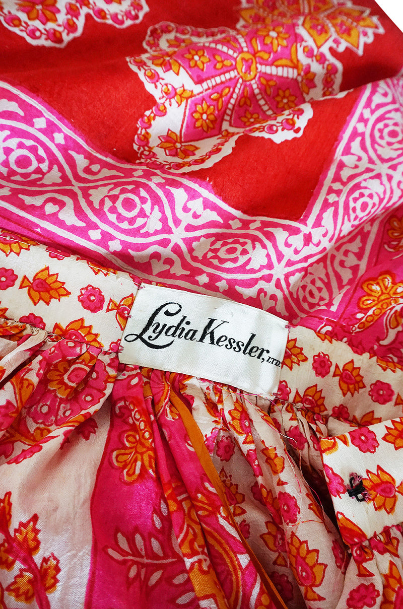 1960s Pink Printed Fine Thai Skirt with a Huge Matching Scarf
