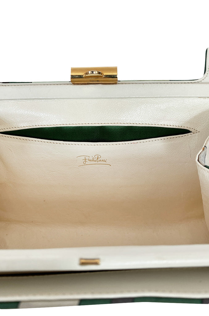 1960s Emilio Pucci Deep Green Silk Bag w White Handles