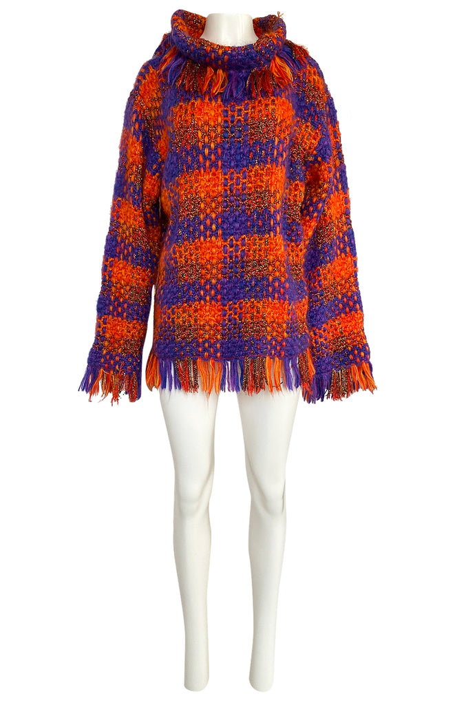 Fall 1993 Yves Saint Laurent Documented Fringed Knit Tunic Mini Dress