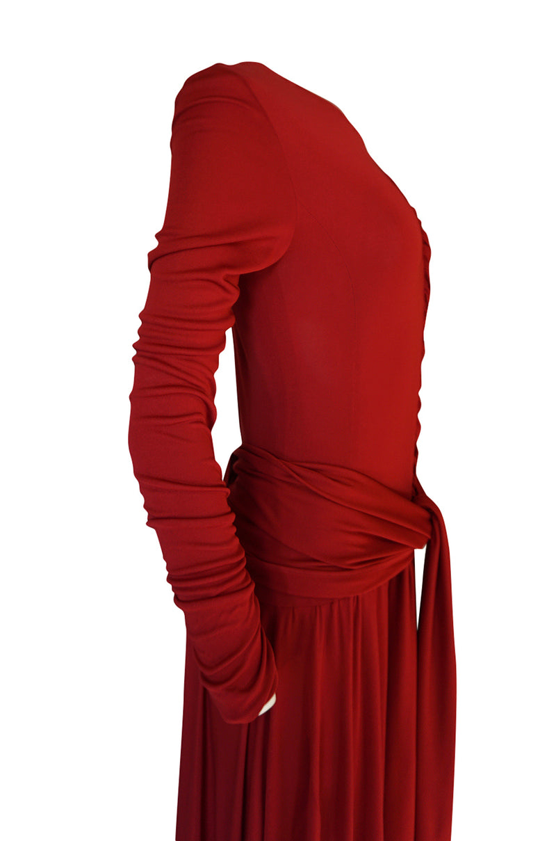 1980s Karl Lagerfeld Supermodel Length Deep Red Silk Jersey Dress w Sash