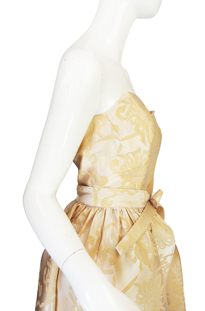 1960s Strapless Fitted Dress & Dramatic Skirt Overlay