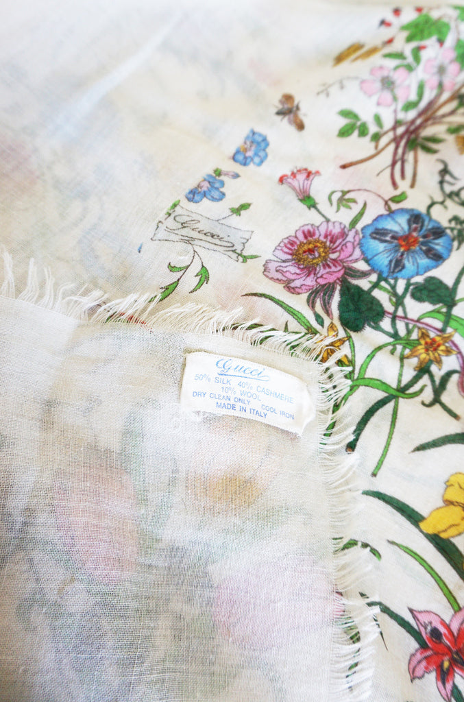 1970s Huge Cashmere & Silk Gucci Flora Shawl or Scarf