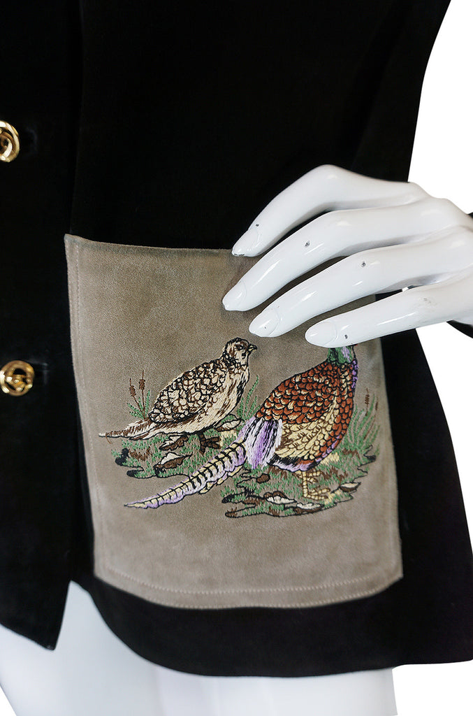 1970s Gucci Suede Jacket With Embroidered Pheasants
