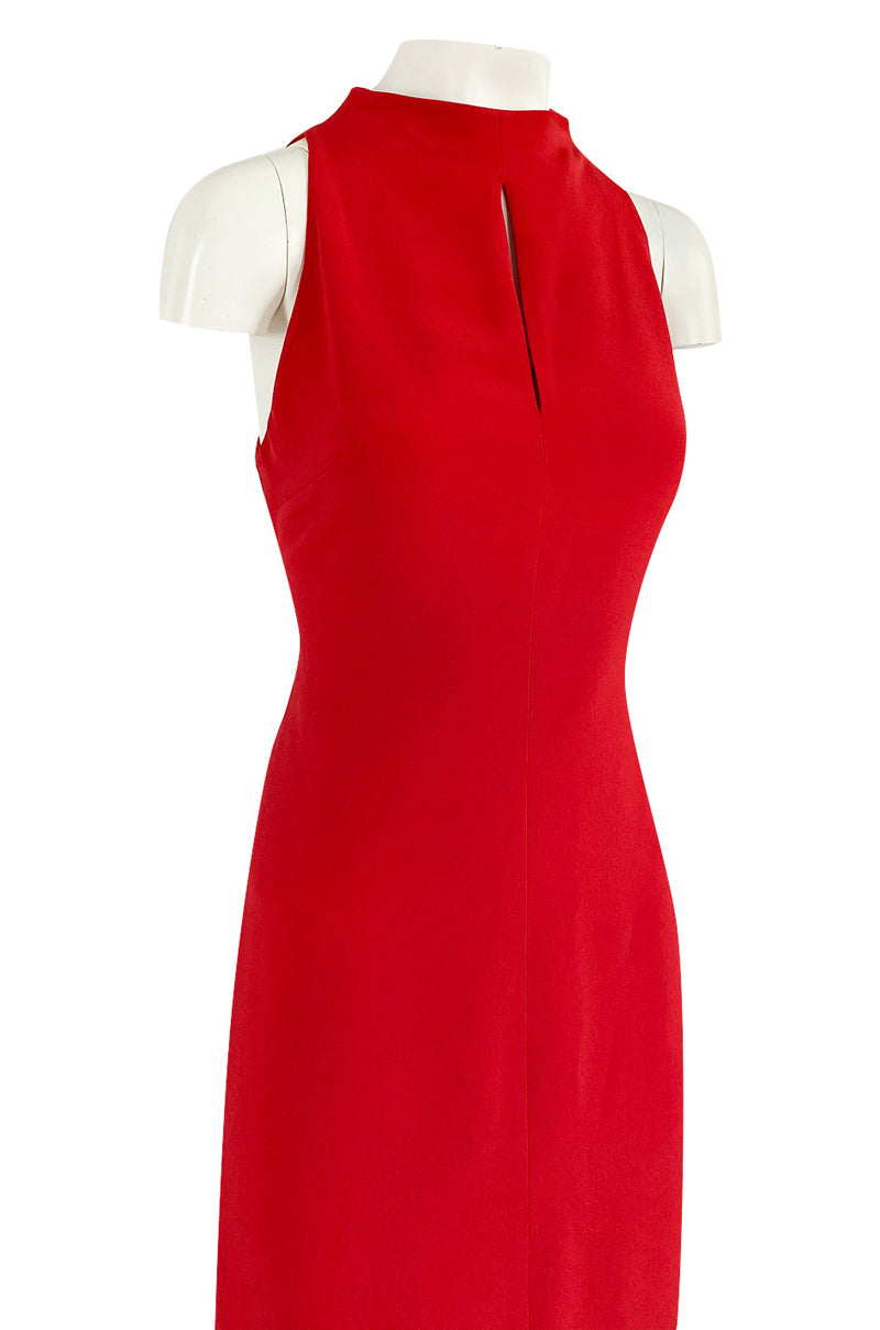 Sleek 1990s Valentino Classic Red Dress w Slit Front Detail & Tiered Ruffled Hem