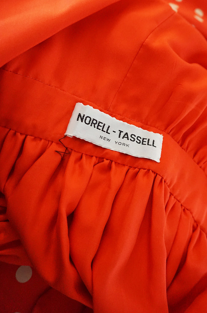 c1972-76 Norell-Tassell Dotted Red & White Silk Maxi Dress