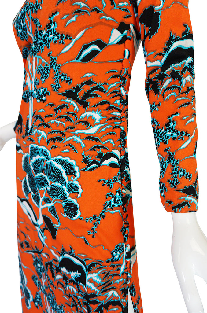 1960s Bright Coral Cheongsam Inspired Print Dress