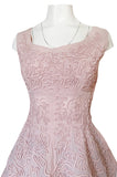 1950s Adele Simpson Pink Cotton Dress w Hand Applique Cording Detail