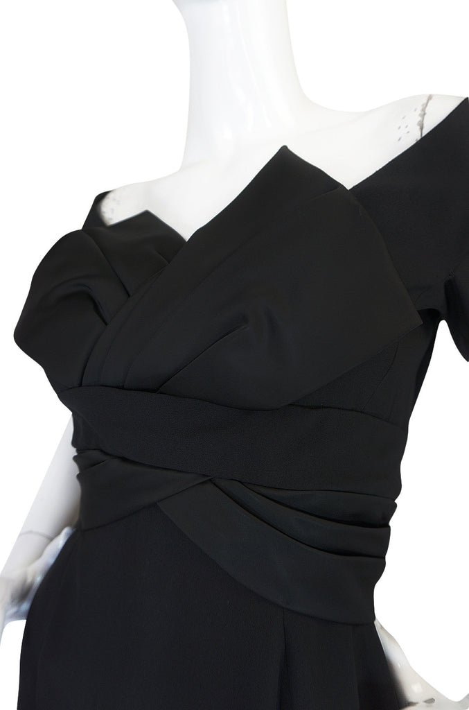 1950s Helena Barbieri Black Bow Detailed Silk Crepe Dress