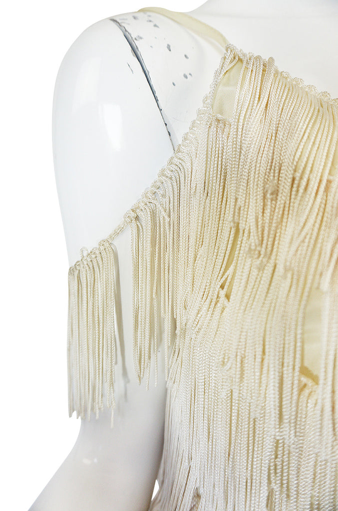 "Amazing 1960s Layered Fringe Cream ""Flapper"" Dress"