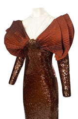 1980s Loris Azzaro Couture Densely Sequin Dress w Elaborate Silk Sleeves
