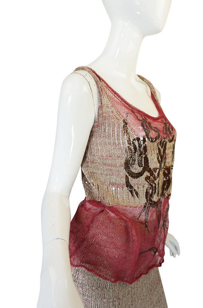 1990s Vivienne Westwood Gilt Painted Knit Skirt & Tank