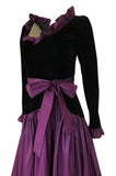 Documented 1980 Yves Saint Laurent Purple Silk Taffeta Ruffle Dress