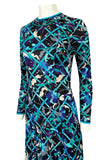 Gorgeous 1960s Emilio Pucci Blue Lattice Print Silk Jersey Maxi Dress